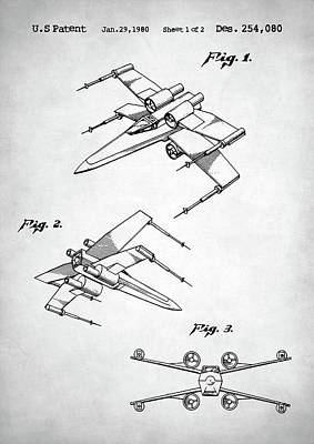 Digital Art - Star Wars X Wing Patent by Taylan Apukovska