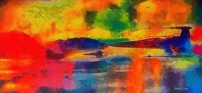 Coastline Digital Art - Star Wars X-wings Over Lake - Da by Leonardo Digenio