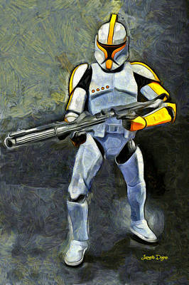 Stormtrooper Painting - Star Wars Yellow Commander - Pa by Leonardo Digenio