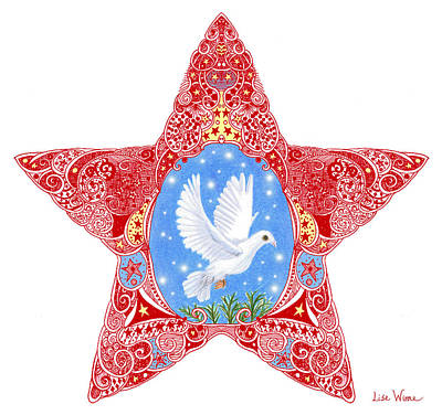 Drawing - Star With Dove Of Peace by Lise Winne
