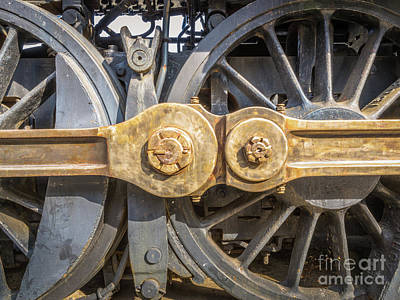 Vintage Locomotive Photograph - Starboard Drive Wheels And Connecting Rods No. 9000 by Mark Roger Bailey