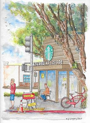 Painting - Starbucks Coffee In Robertson And Beverly Blvd., Beverly Hills, Ca by Carlos G Groppa