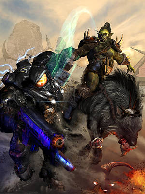 Starcraft Digital Art - Starcraft Vs Orc by Kurt Miller