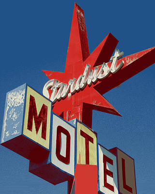 Photograph - Motel Sign In Red White Blue by Art America Gallery Peter Potter