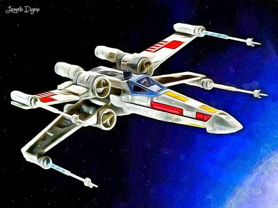 Gogh Painting - Starfighter X-wings - Da by Leonardo Digenio