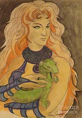 Comics Mixed Media - Starfire with Beast Boy in the form of a Ermine by Kevin Sweeney