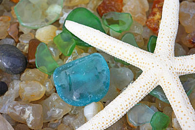 Agate Beach Photograph - Starfish Art Prints Blue Green Seaglass Sea Glass Agates by Baslee Troutman Art Prints
