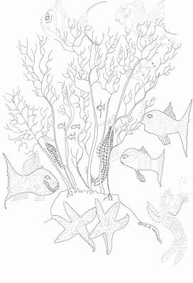 Starfish Dance And Fish Camouflage Art Print