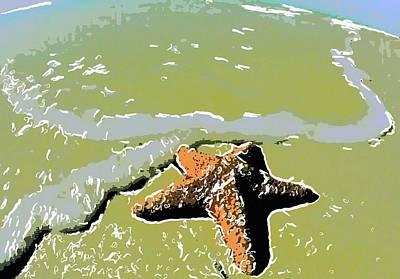 Starfish In The Beach Sand 2 Art Print
