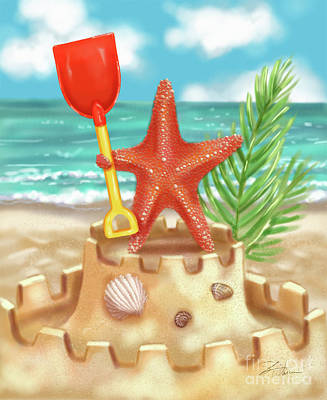 Mixed Media - Starfish Makes A Sandcastle by Shari Warren
