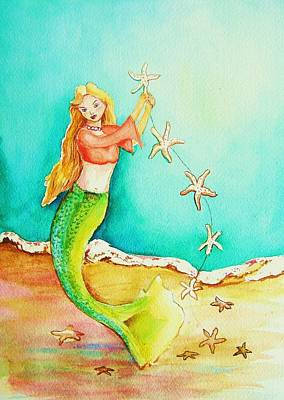 Starfish Mermaid Art Print