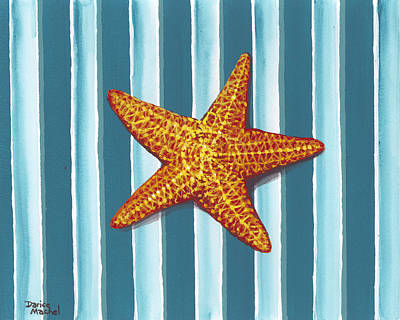 Painting - Starfish On Stripes by Darice Machel McGuire