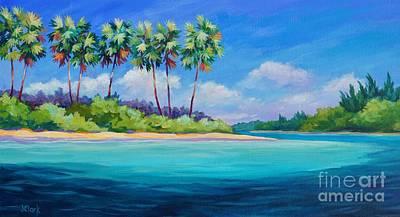 Sandbar Painting - Starfish Point  Panoramic by John Clark