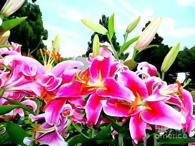 Photograph - Stargazer Lilies #1 by Ed Weidman