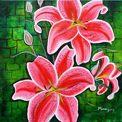 Painting - Stargazer Lilies Bold And Vibrant Floral Painting On Canvas by Manjiri Kanvinde