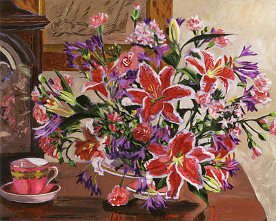 Painting - Stargazer Lilies by David Lloyd Glover