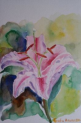 Painting - Stargazer Lily Watercolor Still Life Gift  by Geeta Biswas