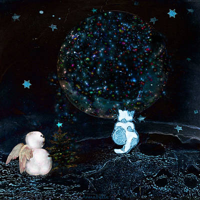 Hearts On Trees Digital Art - Blue Christmas Stargazers by Anna Belanger