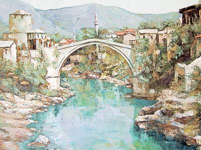 Stari Most Bridge Over The Neretva River In Mostar Bosnia Herzegovina Art Print