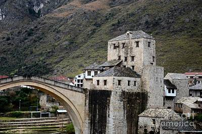 Mostar Photograph - Stari Most Ottoman Bridge And Embankment Fortification Mostar Bosnia Herzegovina by Imran Ahmed