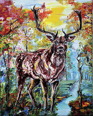 Painting - Staring Stag by Yelena Rubin