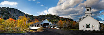 Linda King Photograph - Stark Covered Bridge And Church by Linda King