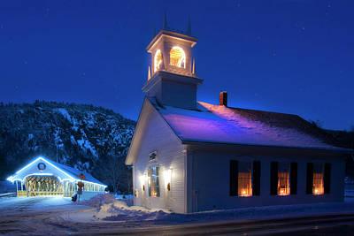 Stark Nh Covered Bridge And White Church In Winter Art Print by Joann Vitali