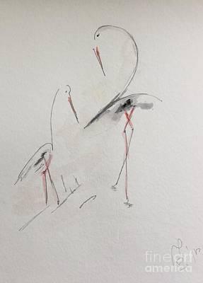 Stork Mixed Media - Storks Fun IIi by Dorota Zukowska