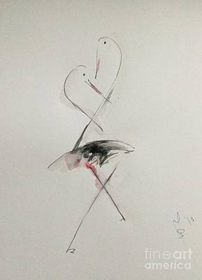 Stork Mixed Media - Stork's Conversations by Dorota Zukowska