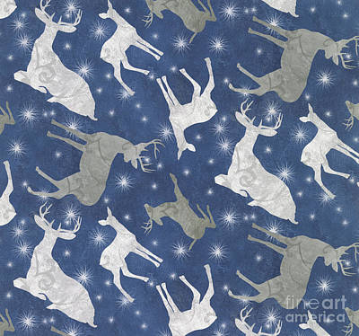 Silver Moonlight Painting - Starlight Christmas I by Mindy Sommers