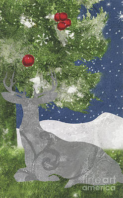 Silver Moonlight Painting - Starlight Christmas X by Mindy Sommers