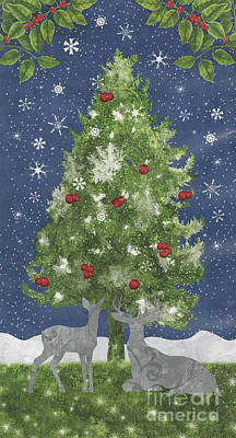 Silver Moonlight Painting - Starlight Christmas Xi by Mindy Sommers