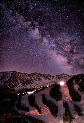 Starlight Mountain Ski Hill Art Print by Mike Berenson