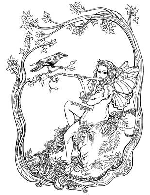 Starlings Drawing - Starling And Fairy Music by Katherine Nutt