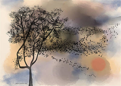 Digital Art - Starlings At Dusk by Brett Shand