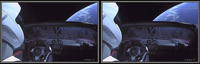 Mixed Media - Starman In Elon Musk's Tesla Roadster - 3d X-view by Brian Wallace