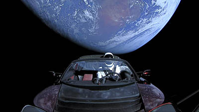 Painting - Starman In Tesla Roadster With Planet Earth Traveling In The Space And The East Coast Of Australia I by Celestial Images