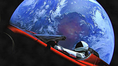 Starman In Tesla With Planet Earth Art Print
