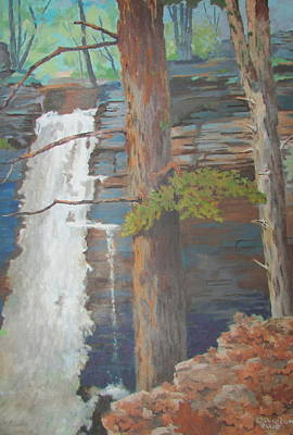 Painting - Starrucca Pa. Falls by Tony Caviston
