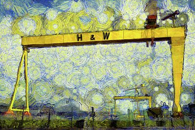 Dap Photograph - Starry Belfast Shipyard by Nigel R Bell