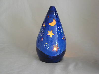 Ceramic Art - Starry Candle Holder by Deirdre DeLay