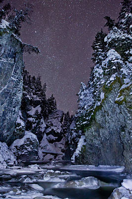 Snowy Night Photograph - Starry Creek by Brandon Broderick