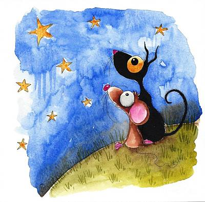 Stressie Cat Painting - Starry Evening by Lucia Stewart