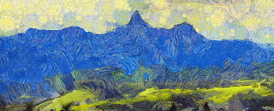 Painting - Starry Landscape Beartooth Mountain by Dan Sproul