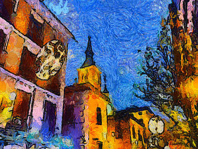 Roof Top Digital Art - Starry Madrid Tribute To Vincent by Alan Armstrong