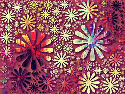 Mixed Media - Starry Magenta Grunge Decorative Abstract by Georgiana Romanovna