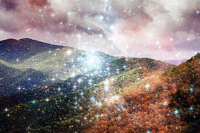 Colorful Photograph - Starry Mountain View From Lookout Mountain Black Mountain Nc by Mela Luna