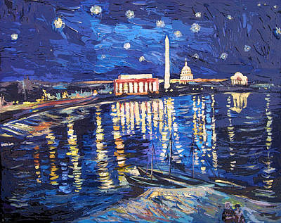 Lincoln Memorial Painting - Starry Nigh Over Potomac River by Zachary Sasim