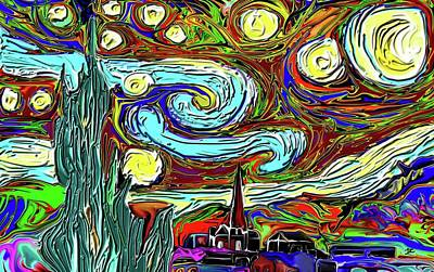 Digital Art - Starry Night 2 by Darren Cannell