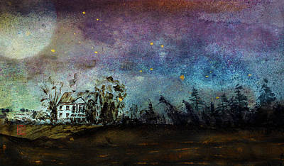 Mixed Media - Starry Night Above Country Home by Peter V Quenter